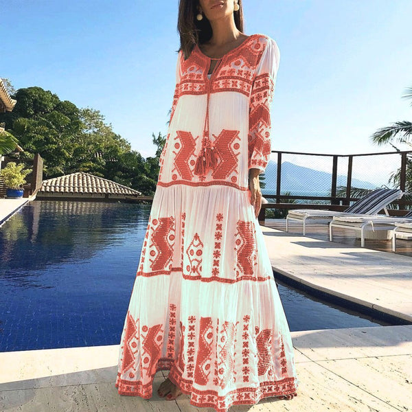 CuteMega Spring Summer Cotton And Linen Floral Printed Vacation Maxi Dress