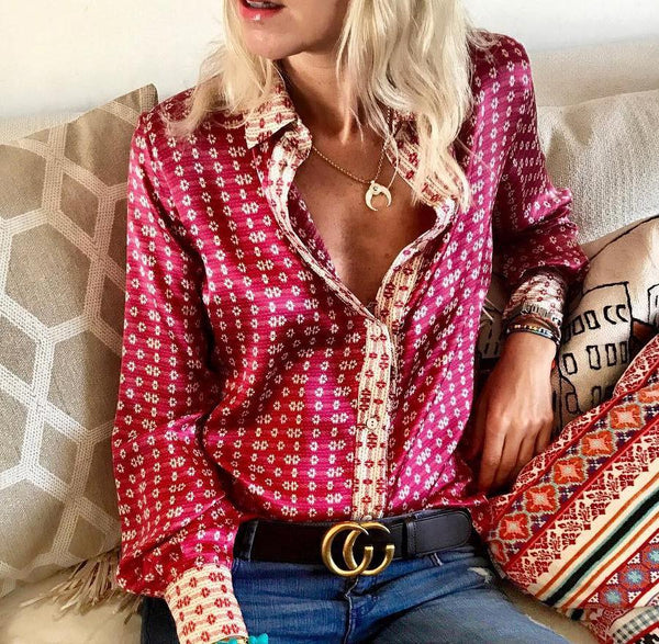 STYLISHPOP Casual Loose Long   Sleeve Printing Shirt Blouse