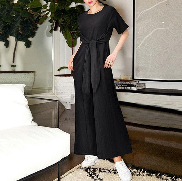 Fashion Round Neck Short Sleeve Wide Leg Trousers Jumpsuit