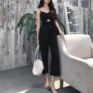 Casual V Neck Pure Colour Belted High-Waist Jumpsuits