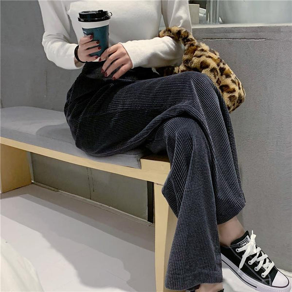 High Waist Loose Wick   Fluffy Thin Broad Leg Trousers