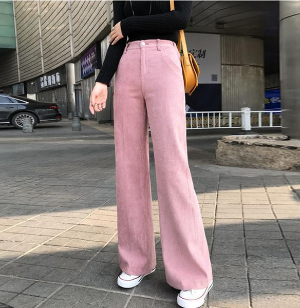 Vintage Corduroy   Thickened High-Waisted Straight Trousers