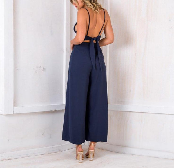Casual Show Thin Sexy   V Neck Sling Wide Leg Jumpsuit