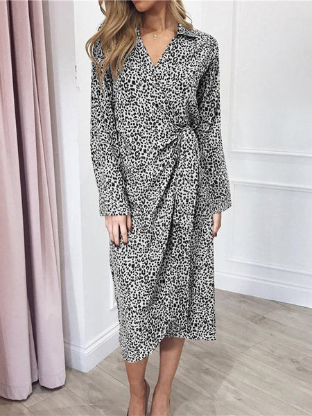 Sexy Leopard Print V Neck Belted Long Sleeve Shirt Dresses
