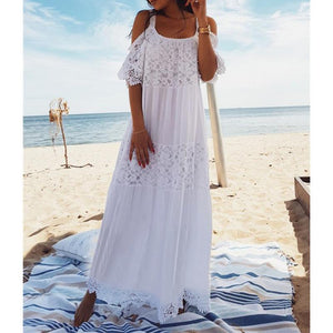 Fashion Off-Shoulder Bare Back Beach Maxi Dresses