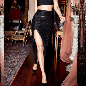 Fashion Pleated PU High-Waist Skirt