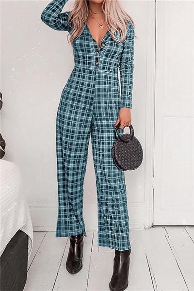 Check Fashion Sexy V Collar Long Sleeve Jumpsuits