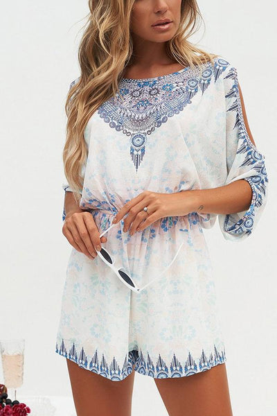 Casual Loose National Style Printing Romper