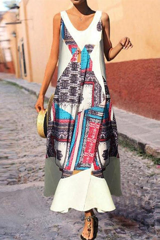 Fashion V Collar Printed Wide Leg Loose Jumpsuit