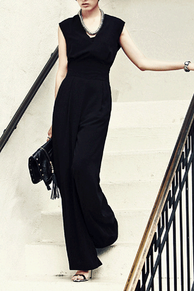 Elegant Round Collar Sleeveless Wide-Leg Jumpsuit