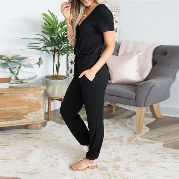 Casual V Collar Plain Loose Drawstring Jumpsuit