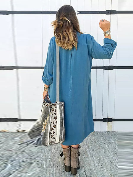 STYLISHPOP Fashion Pure Colour Long Sleeve Long Shirt Dresses