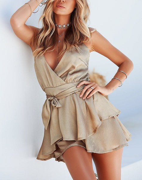 Casual Sexy Deep V   Neck Backless Sling Falbala Romper