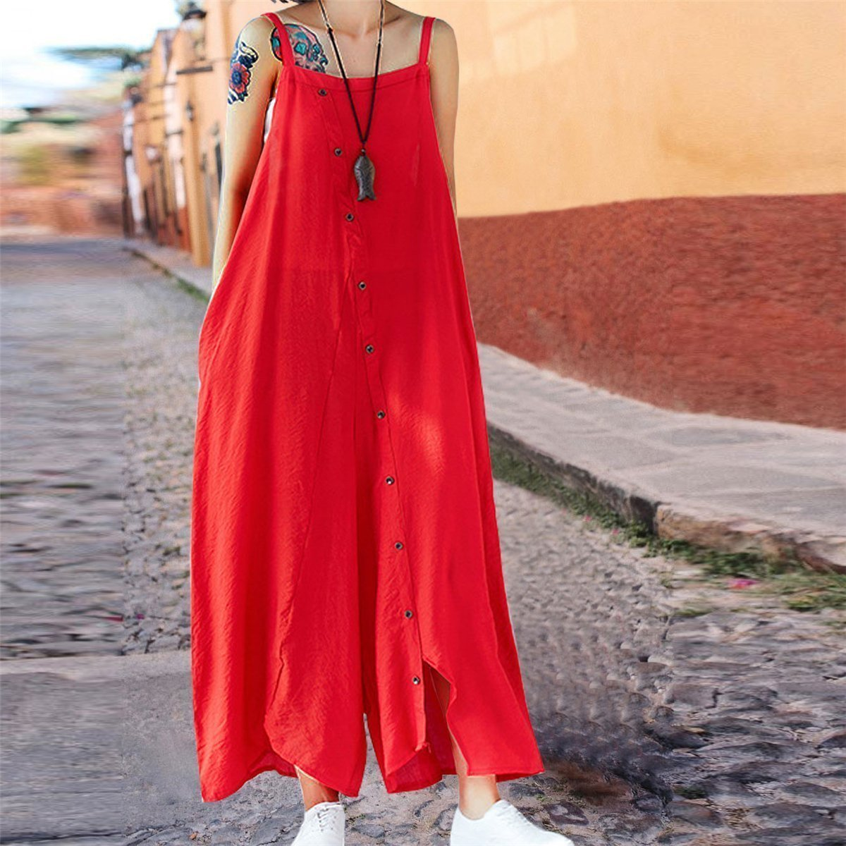Summer Plain Casual Wide Leg Jumpsuit