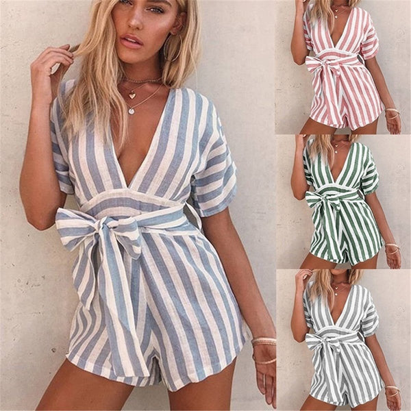 Fashion Deep V Collar Striped Strappy Loose Jumpsuit