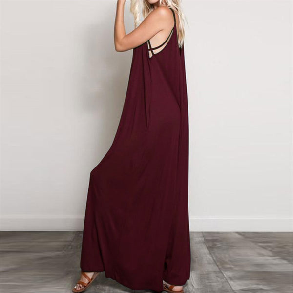 STYLISHPOP Simple Plain Deep V Neck Loose Soft Jumpsuit