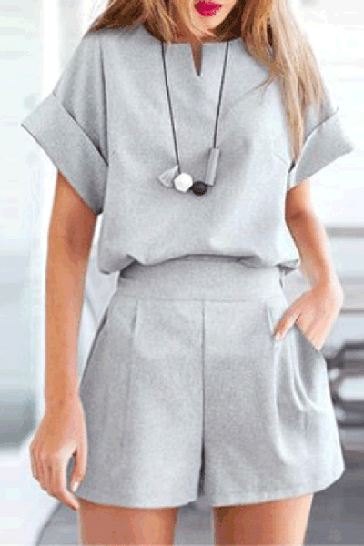 Elegant Round Collar Plain Loose Shorts Suit