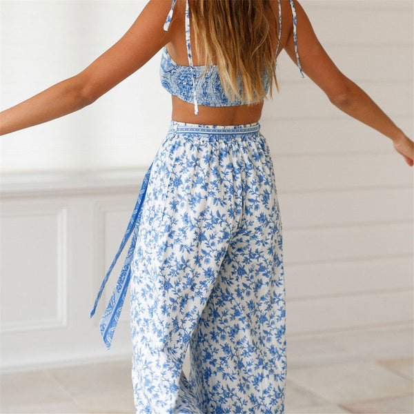 STYLISHPOP Sexy Off Shoulder Floral Printed Two Piece Suit Jumpsuit