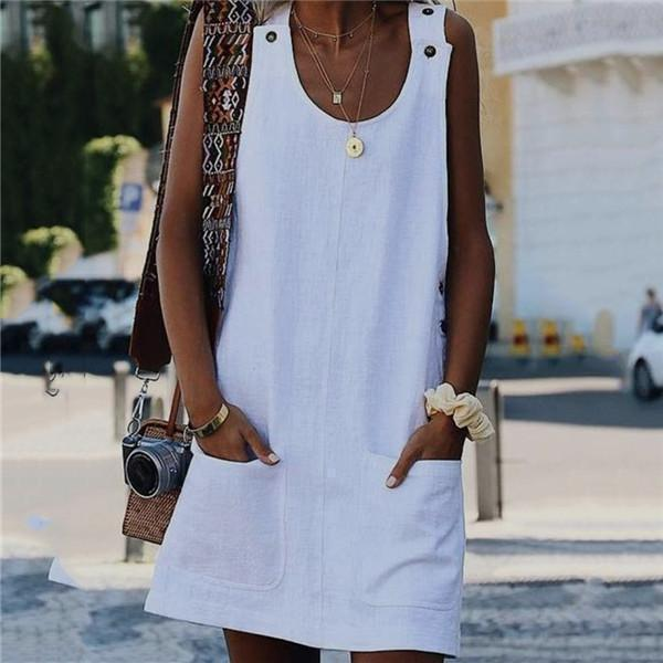 Fashion Pure Vest Pocket Casual Dress