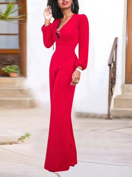 Casual Deep V Pure Colour Belted Jumpsuits