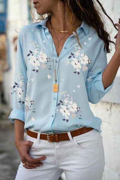 Casual Loose V Neck Floral Print Long Sleeve Shirt