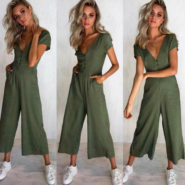 Sexy Short-Sleeved V-Neck Button Holiday Jumpsuit For Women Solid Color STYLISHPOP Chic Jumpsuit