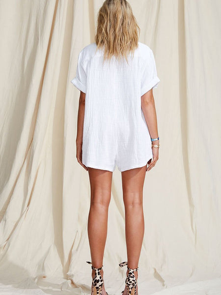 Casual Halflong Sleeve Pure Colour Romper