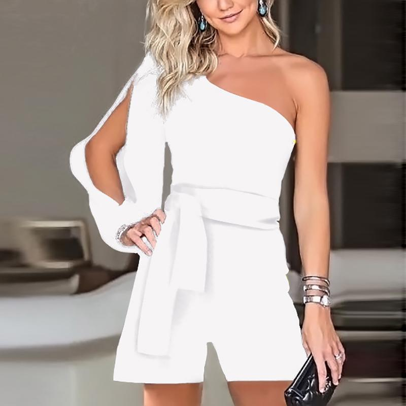 Casual Sexy Off The   Shoulder Frenulum Slim Pure Color Shorts Jumpsuit