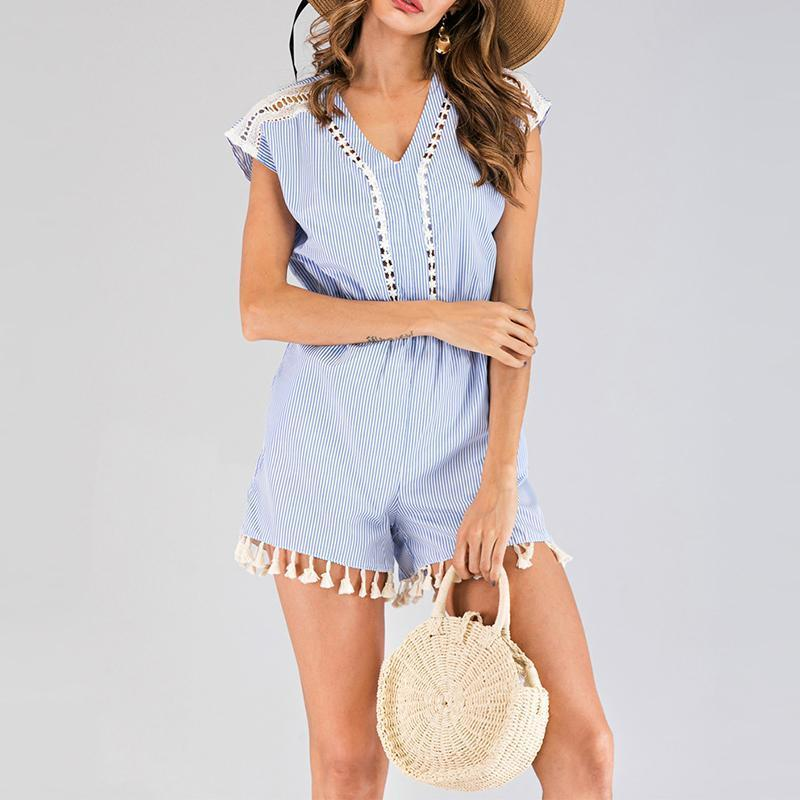 Casual V Neck Sleeveless Striped Tassel Splicing Romper