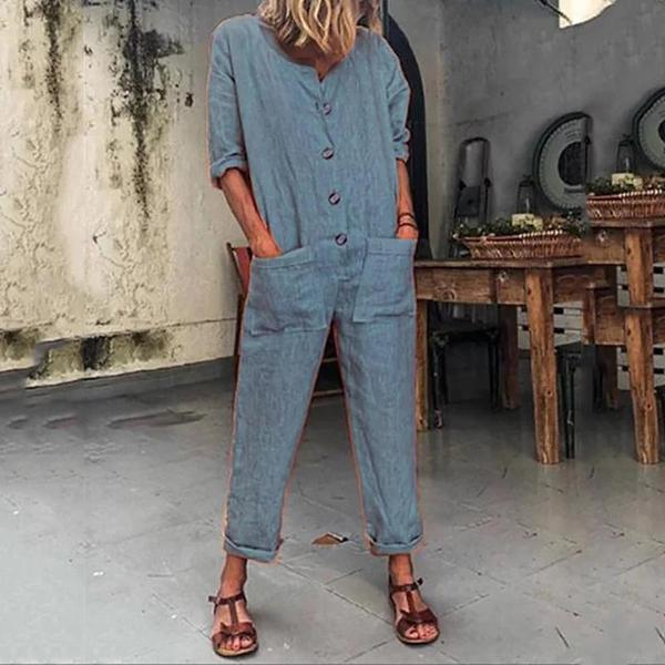 Women Fashion Jumpsuit Pocket Button Solid Color, STYLISHPOP Trendy Jumpsuit