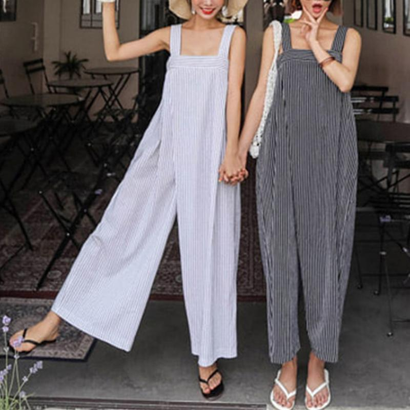 Sexy Sling Striped Loose Wide-Leg Jumpsuits