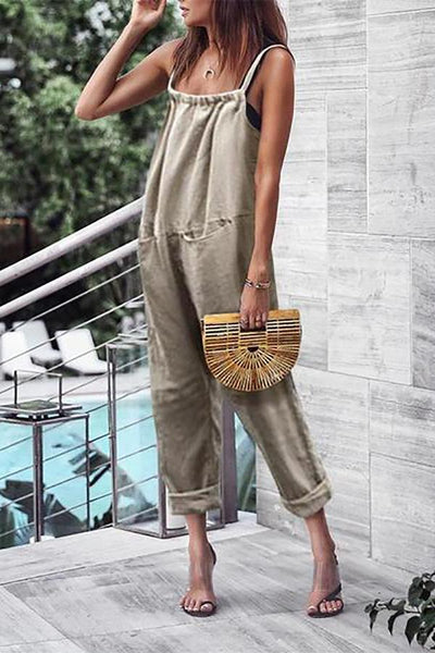Casual Sleeveless Off-Shoulder Pleated Jumpsuits