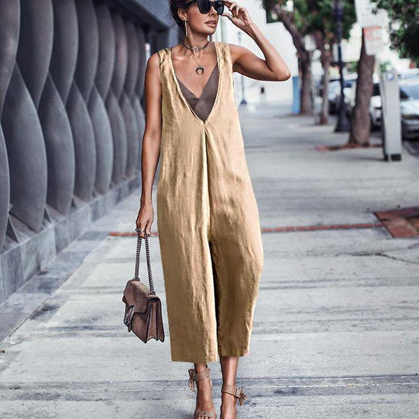 Casual Loose Pure Colour Broad Leg Strap Jumpsuits