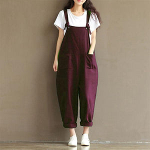 Vintage Bow Pure Colour Shoulder Strap Short Jumpsuits