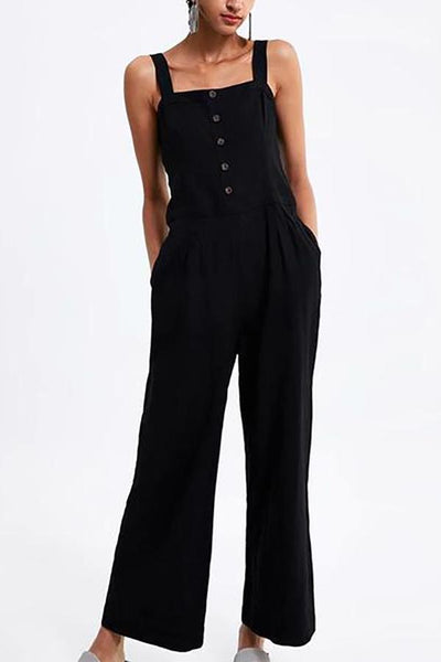 Casual Pure Colour Button Sling Long Jumpsuits
