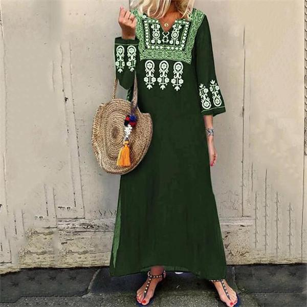 Bohemian Inwrought V Neck Long Sleeve Slit Dress