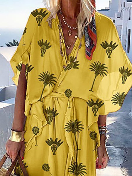 Bohemian Printed Colour Batwing Sleeve V Neck Belted Dress