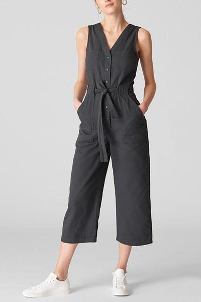 Off-The-Shoulder V-Neck Tie-Up   Waist-Length Solid Wide-Leg Jumpsuit