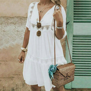 Casual Hollow Out V Neck Short Sleeve Dresses