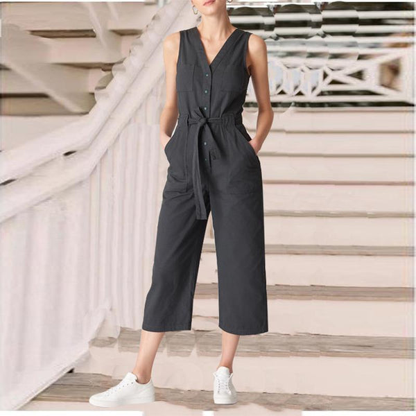 Fashion V Neck Pure Color Waist Wide Leg Jumpsuits