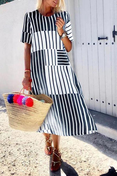 Casual Round Neck Stripe Short Sleeve Dress