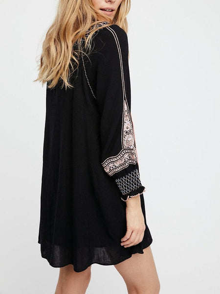 Bohemian Sun-Protective Inwrought Long Sleeve Dress