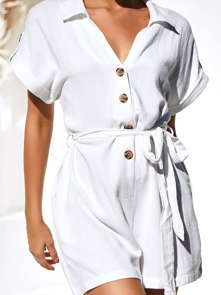 Commuting V Neck Single-Breasted Short Sleeve Belted Jumpsuits