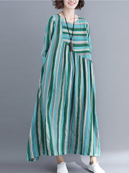 Vintage V Neck Long Sleeve Stripe Splicing Dress