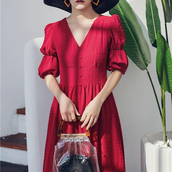Elegant V Neck Pleated Halflong Sleeve High-Waist Dress