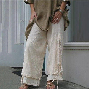 Casual Cotton And Linen Personality Solid Color Casual Pants