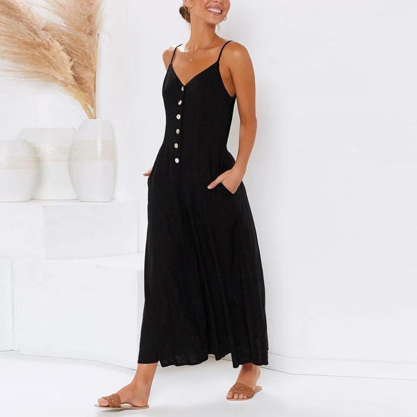 Sexy Suspender Button Closure With Solid Color Jumpsuit