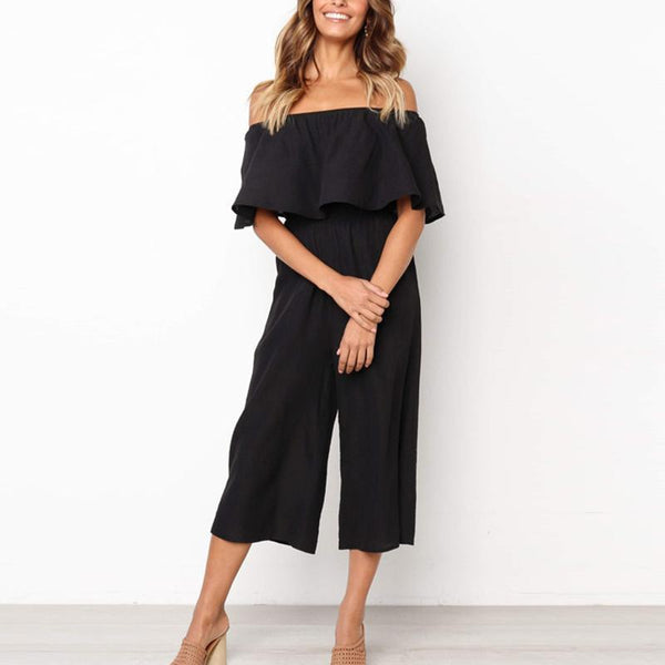 Stylish Sexy Pure Color One Word Shoulder Flounce Jumpsuit