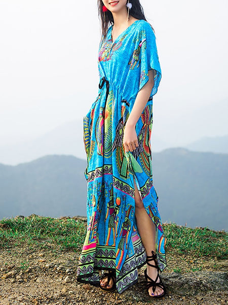 Bohemian V Neck Belted Halflong Sleeve Printed Colour Dress