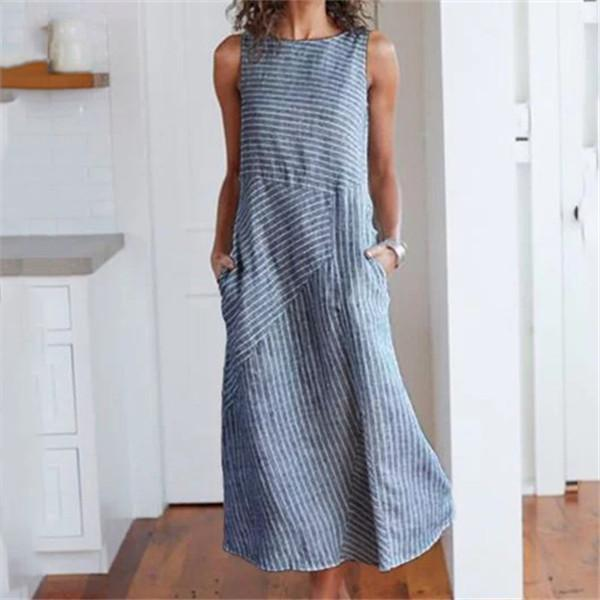 Fashionable Sleeveless Stripes Casual Dresses